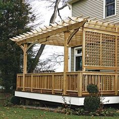 Patio pergola with fencing. Love the tall pergola and the fence is a fun idea, to separate the space from the yard. Attached Pergola, Deck With Pergola, Wooden Pergola, Pergola Patio, Backyard Patio, Pergola Ideas, Pergula Deck, Covered Pergola, Deck Covered