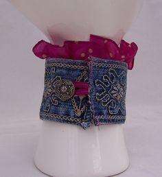 Cuff Embroidered Jeans Bracelet, Bracelet with Vintage Brooch, Ruffled Bracelet, Fushia Silk Bracelet, Handmade Jewelry. $25.50, via Etsy.