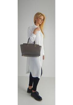 BORSA BAULETTO MICHEL TAUPE - Melissa Agnoletti http://www.melissaagnoletti.com/it/donna/1275-maxi-bag-con-nappe-grey.html #melissaagnoletti #fashion #style