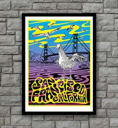 Psychedelic San Francisco Golden Gate Poster Art by Brad Albright