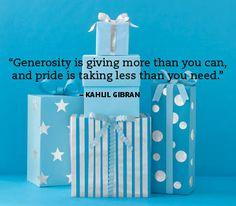 Generosity...