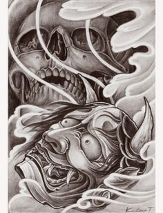 Skull and Hanya Skull Tattoo Design, Tattoo Design Drawings, Skull Design, Skull Tattoos, Tattoo Sketches, Sleeve Tattoos, Dream Tattoos, Badass Tattoos, Marduk Band