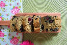 Blueberry Banana Zucchini Avocado Bread- Just made this. used frozen blueberries and cherries (halved)...(rinsed under water until clear, patted dry w/paper towels and tossed in flour) instead of fresh berries. Super good! Was looking for a non-chocolatey zucchini bread as I already made chocolate cookies!