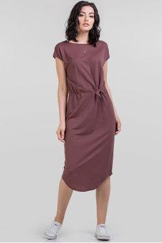 Літня сукня у стилі кежуал виконана з лляної тканини кольору какао. Поділ  напівкруглий 988d92d3444ee