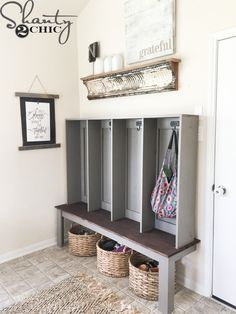 Build a DIY Wall Locker to create a pretty and functional storage space. Perfect for an entryway or mudroom. Get the free plans and how-to video now! Diy Wand, Diy Storage, Storage Spaces, Laundry Storage, Basement Storage, Furniture Plans, Diy Furniture, Mur Diy, Diy Rangement
