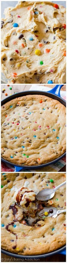 Bake your chocolate chip cookies in a skillet to save time and effort!! Add M&Ms too! Recipe found on http://sallysbakingaddiction.com