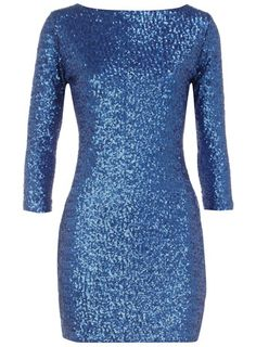 Blue long sleeve sequin dress, I want it for my birthday.