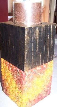 Portavelas con enduido y cerámica al frío