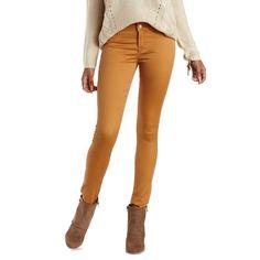 """Charlotte Russe Mustard Refuge """"Hi-Waist Super Skinny"""" Colored Jeans... ($33) ❤ liked on Polyvore"""