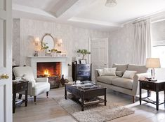 Super Ideas For Living Room Wallpaper Ideas Grey Laura Ashley Living Room With Fireplace, Living Room Grey, Living Room Kitchen, Home And Living, Living Room Decor, Laura Ashley Living Room, Laura Ashley Home, Living Room Inspiration, Decoration