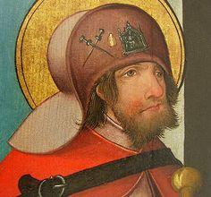 Pilgrim met pelgrimsinsignes op zijn hoed