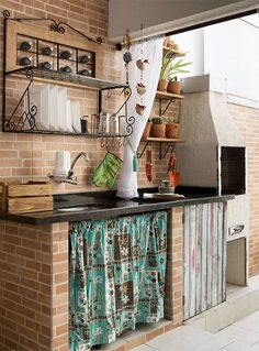 Reforma transforma lavanderia e quartinho em área de lazer - Casa Relaxing Outdoor Kitchen Ideas for Happy Cooking & Lively Party Decoration Inspiration, Summer Kitchen, Kitchen Countertops, Country Kitchen, Dirty Kitchen, My Dream Home, Kitchen Decor, Kitchen Sink, Kitchen Ideas