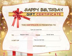 Happy Birthday Certificate Template Luxury Birthday Gift Certificate Sample Templates for Word Free Printable Gift Certificates, Gift Certificate Template Word, Birthday Certificate, Templates Printable Free, Word Templates, Printables, Special Birthday Gifts, Happy Birthday Cards, Personalized Greeting Cards