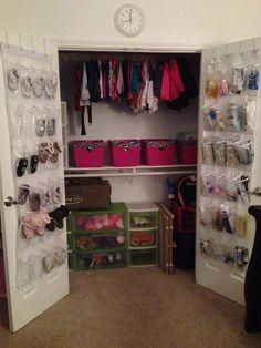 Kids closet organization - shoe storage