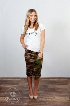 Camo and Striped Pencil Skirts!
