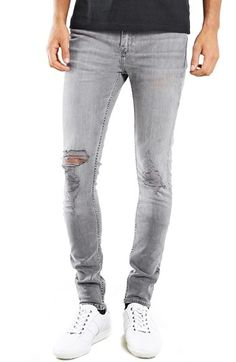 Topman Ripped Spray On Skinny Jeans (Grey)