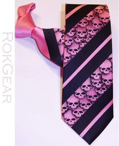 Hot Pink and Black skull tie