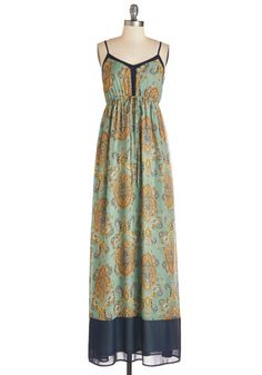 Fab Folk Fest Dress - Multi, Paisley, Print, Casual, Boho, Maxi, Spaghetti Straps, Spring, Woven, Long, Festival