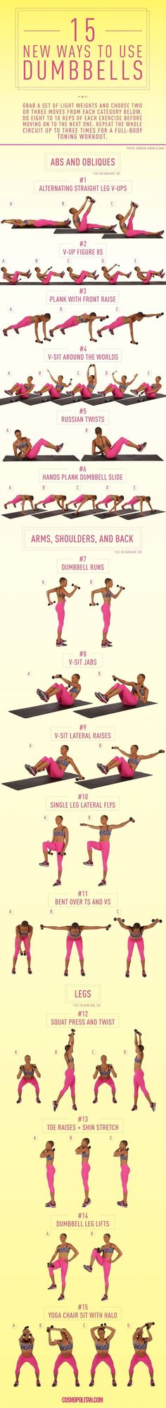 New Ways to Use Dumbbells Build a DIY dumbbell workout that targets the body parts you want to tone.Build a DIY dumbbell workout that targets the body parts you want to tone. Sport Fitness, Fitness Diet, Health Fitness, Fitness Plan, Men Health, Group Fitness, Muscle Fitness, Gain Muscle, Build Muscle
