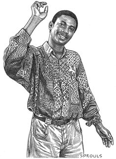 Yousou-N'Dour - more than a hedcut, this fabulous African musician's shirt took a bit of time to stipple.