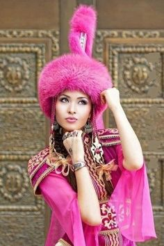 Kazakh girl in traditional outfit