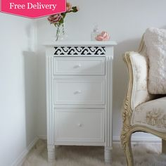 Isabelle White 3 Drawer Bedside Table : Beau Decor  White bedroom furniture, beautiful french shabby chic styling