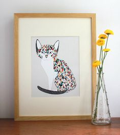 Calico Cat Illustration Free US Shipping by Gingiber on Etsy Cat Wall, Tiger, Catio, I Love Cats, Decoration, New Art, Cool Art, Awesome Art, Illustration Art