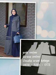 Batik Fashion, Abaya Fashion, Muslim Fashion, Long Dress Patterns, Dress Sewing Patterns, Batik Muslim, Simple Long Dress, Abaya Pattern, Sewing Blouses