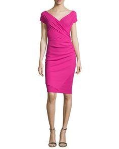 $650 @ Neiman Marcus TC9MP La Petite Robe di Chiara Boni Calista Short-Sleeve Faux-Wrap Cocktail Dress, Azalea