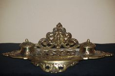 Vintage Solid Brass Double Ink Well pot very by SuzsCollectibles