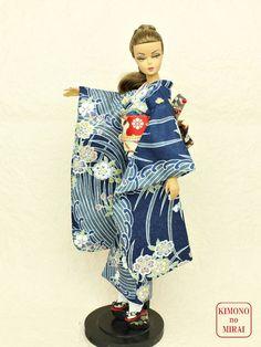Blue kimono FURISODE Barbie,Poppy Parker,FR NIPPON ,wafuku KIMONOnoMIRAI #KIMONOnoMIRAI