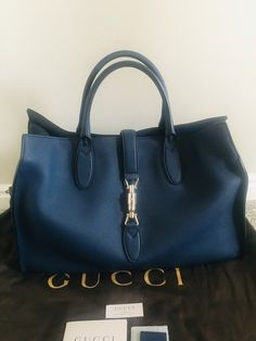 97f09fbb3 Gucci Jackie Soft Navy Leather Tote. Get one of the hottest styles of the  season. Tradesy