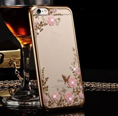 iPhone 6s bling bling skins Bling Diamond Flower electroplate Soft TPU Case Cover For iPhone 6 6S plus iPhone 6 6S Cover