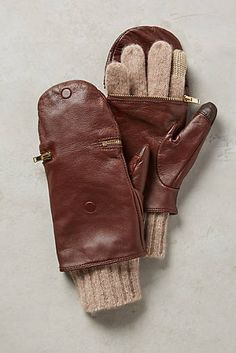 Pop-Top Leather Gloves