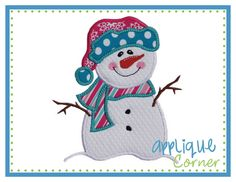 INSTANT DOWNLOAD Snowman with Stick Arms applique design in digital format for embroidery machine by Applique Corner by AppliqueCornerDesign on Etsy https://www.etsy.com/listing/175567936/instant-download-snowman-with-stick-arms