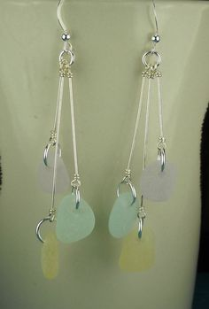 Sea Glass Earrings Sterling Silver And Pastels by seaglassgems4you, $48.00