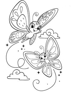 T T cute butterfies with faces