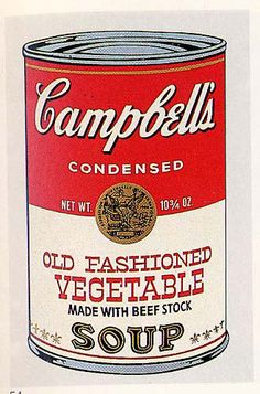 It'd be cool to have Warhol paintings in the kitchen. Campbell's Soup Can (Old Fashioned Vegetable) - Andy Warhol Andy Warhol Pop Art, Art Pop, Sopa Campbell, Richard Hamilton, Warhol Paintings, Campbell's Soup Cans, James Rosenquist, Robert Rauschenberg, Stickers