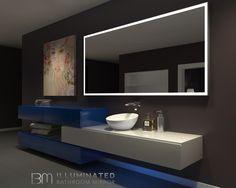 IB Mirror Dimmable Backlit Bathroom Mirror Rectangle 85 In X 40 In 6000 K Silver Backlit Bathroom Mirror, Vanity Wall Mirror, Led Mirror, Mirror With Lights, Lighted Mirror, Bathroom Wall, Vanity Bathroom, Bathroom Lighting, Bathroom Ideas