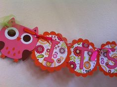 Baby Shower Banner  It's A Girl  Owl Themed by LittleBirdPaperShop, $18.00