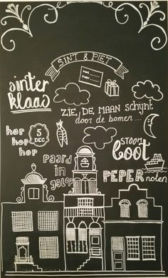 #Krijtbord #Sinterklaas #chalkboard Chalkboard Doodles, Diy Chalkboard, Chalk Design, Diy Design, Saints For Kids, Saint Nicolas, Types Of Lettering, Home Quotes And Sayings, Letter Art