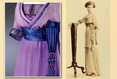 1912 Evening dress of purple silk, silk chiffon, and silk satin, trimmed with metal thread, sequins, silk, and tassle. By Lucile London.