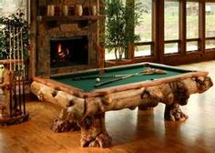 pool table in log cabin style