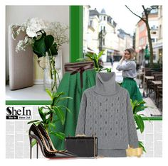 """""""SHE IN Green Plaid Skirt"""" by bklana ❤ liked on Polyvore featuring moda, Isabel Marant, Markus Lupfer, KOTUR, Christian Louboutin y shein"""