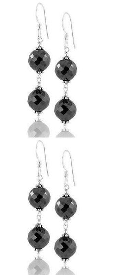 Wood 179274: Certified 8 Mm Black Diamond Faceted Beaded Dangler Earrings -> BUY IT NOW ONLY: $35 on eBay!