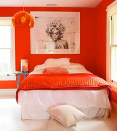 bright orange with bright white and nothing else works beautifully. the artwork or picture should remain black and white.