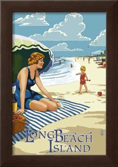 Long Beach Island, New Jersey Beach Scene Print at Art.com