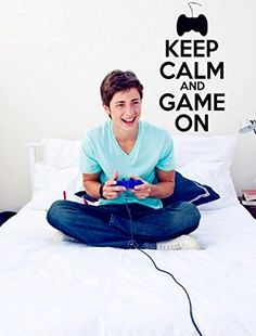 Keep Calm and Game On Teenager Gamer Kids Room Wall Sticker * Click image for more details. Note:It is Affiliate Link to Amazon. #versagram