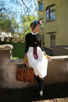 Skirt: Topshop Collar: River Island Sweater: Americen Apparel Tie: Jean Paul Gaultier Shoes: Chanel Scarf: AKA New York Bag: Louis Vuitton Gloves: Henri Bendel Bracelets: Hermes Necklace: Tebian