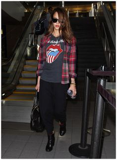 6adbb7f77 How to wear the Tomgirl Flannel Cardigan: with a graphic vintage rock tee //